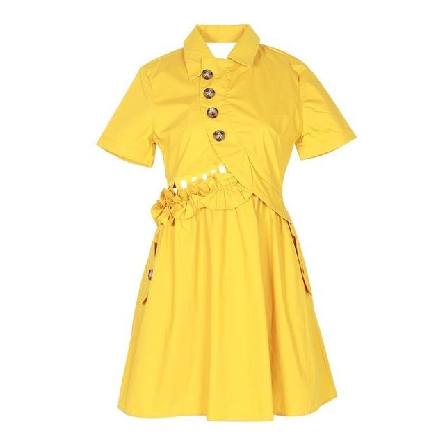 Solid Women Dress Lapel Short Sleeve High Waist Button Ruffles Slim Mini Dresses Summer Size S Color Yellow