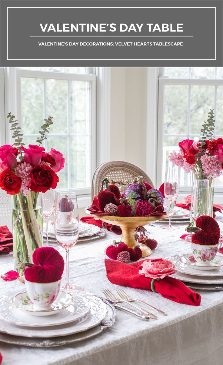 gorgeous velvet hearts add plush texture and rich color to the day decorations that adorn