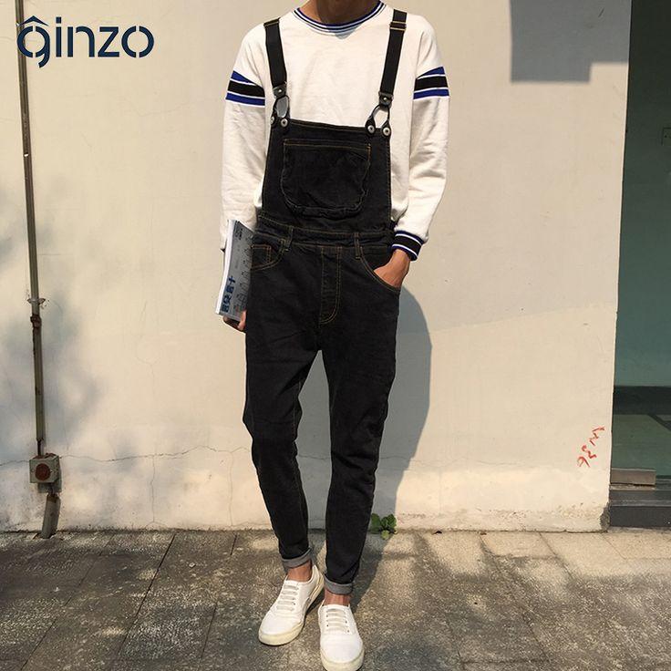 Mens fashion Korean style pocket elastic waist overalls Casual black stretch denim jumpsuits Slim jeans