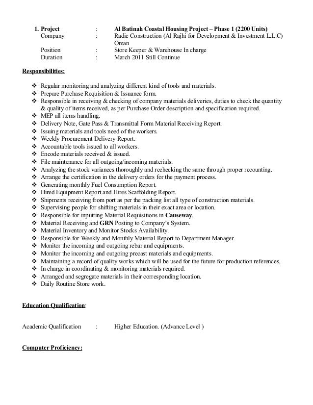 Cv For Store Keeper Great Cv For Store Keeper Store Keeper Resume In Word Format It Is Well Known That Cv In 2020 Job Resume Template Job Resume Education Resume