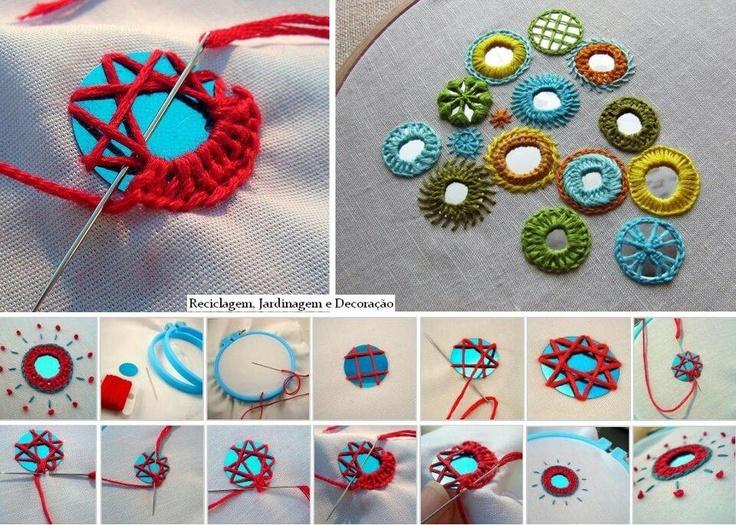 Pegar espejos a crochet