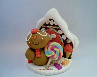 Arco iris inspiraron hombre de pan de jengibre - Gingerbread House - arcilla polimérica - Navidad - vacaciones estatuilla