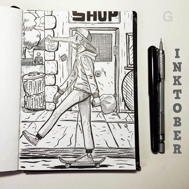 -28- #inktober #ink #illustration #inktober2015 #comics  #character #caricature #sketchbook #gutaart #sketch #topcreator #skate #mask #halloween #graffiti #IllustrationCat