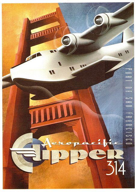 Pan Am Set - Clipper 314. Overnight to Orient. Circa: 1950 Art Deco color lithograph. Artist: Michael L. Kungl.