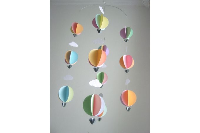 Hot Air Balloon Mobile - Pastel Colours by younghearts