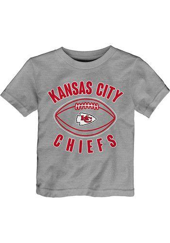 huge selection of 718cf e93e0 Kansas City Chiefs Toddler Grey Little Kicker Short Sleeve T ...