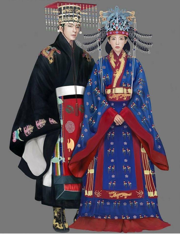 Hanbok illustration 한복 Hanbok : Korean traditional clothes[dress]
