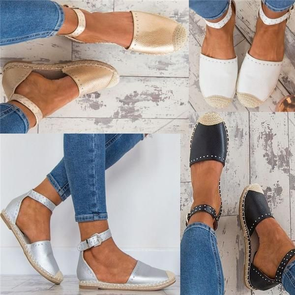 a94b4169b04 Women Summer Style Sandals PU Flat Espadrilles Buckle Sandals in ...