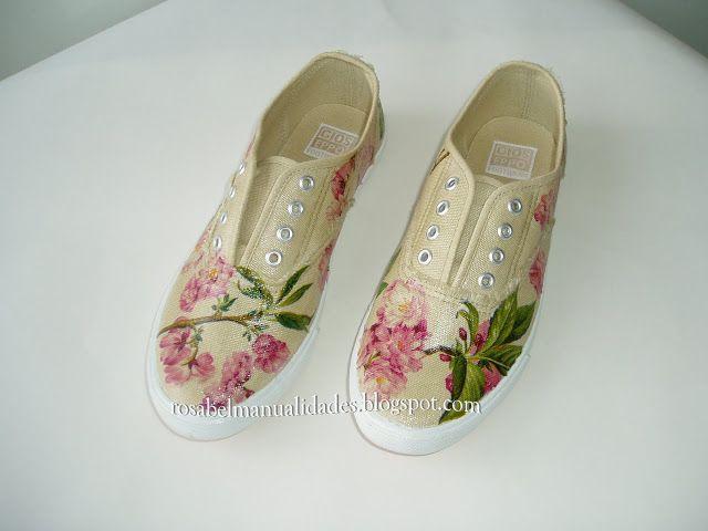 Rosabel manualidades: Zapatillas decoradas