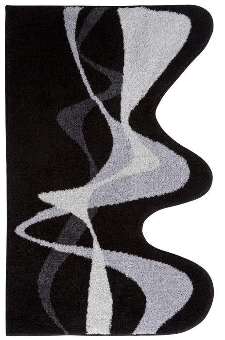Superior Der Moderne Badteppich In Grau Schwarz Mit Ausgefallener Wellenform Aus  Polyacryl Supersoft Ist Rutschhemmend Beschichtet
