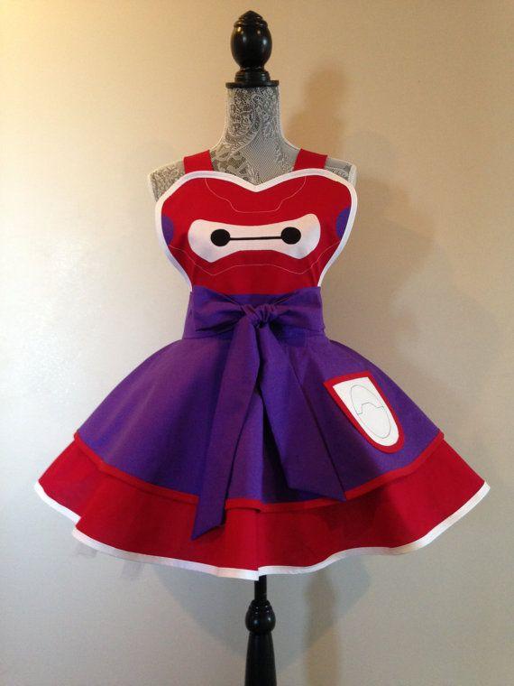 Baymax  Disney apron  retro apron  Big Hero 6  by AriaApparel