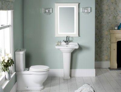 Laura Ashley eau de nil paper and paint for our bathroom