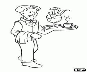 Colora Un cameriere con il vassoio