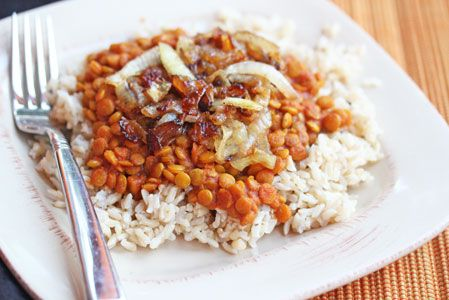 Curried Lentils and rice