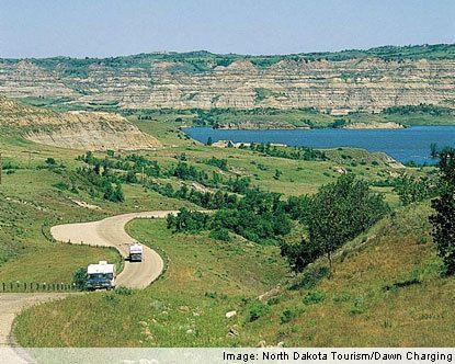 Lake Sakakawea near Williston, ND.  Largest man made lake in the state of North Dakota.