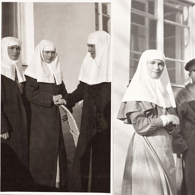 A series of photographs of Empress Alexandra, Grand Duchesses Olga, Tatiana and Anna Vyrubova in their nursing uniforms, taken during World War I. Courtesy of Tatiana Z/Flickr.