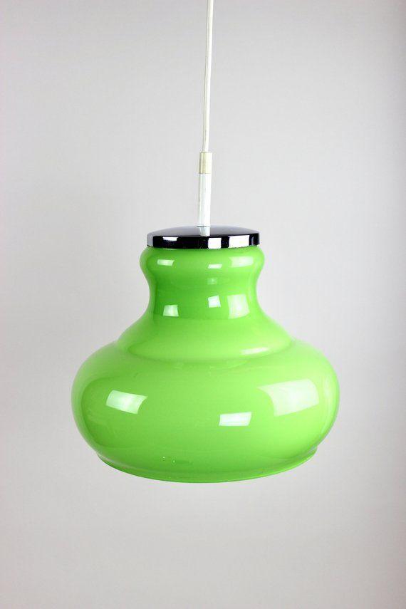Grune Honsel Lampe Deckenlampe Hangelampe Glaslampe Uberfangglas Retro Leuchte Popart 70er Jahre Made In Germany Mit Bildern Glaslampen Deckenlampe Hange Lampe