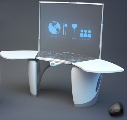 Close to what I want, but I'd embed the GUI into the tabletop.  Kitchen of the future Future technology