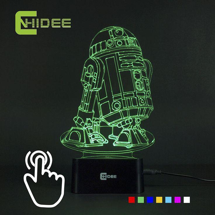 CNHIDEE USB Новинка 7 Цветов 3d Lampara Night Light Star Wars R2D2 Робот Led Lampara как Спальня Лус Nocturna Настольные Лампы Для Чтения