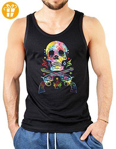 Pop Art Style Tank Top Neon Skull & Revolver Shirt 4 Heroes Beach Tanktop Herren Geburtstag Geschenk geil bedruckt (*Partner-Link)