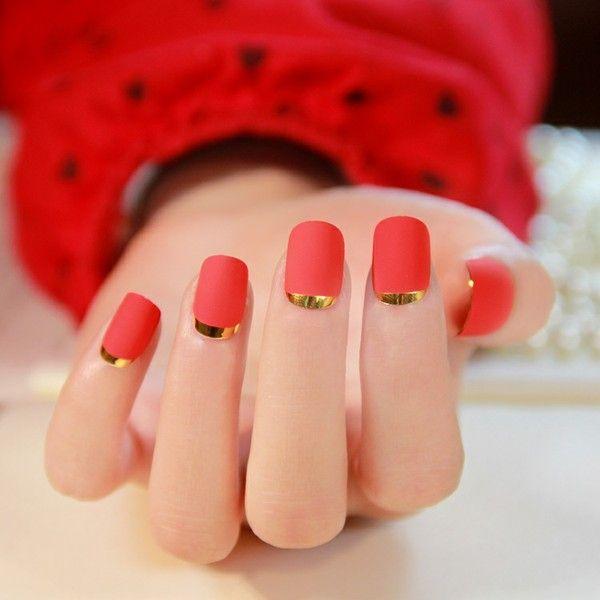 French manicure texture opaca di patch a livello di atmosfera high-end di pezzi finiti unghie finte