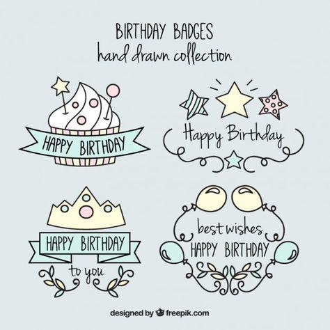 手描き素敵で楽しい誕生日のバッジ 無料ベクター