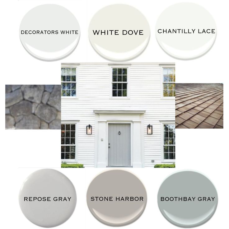Exterior idea board : white siding | gray door : BM decorators white, white dove, or chantilly lace for siding | SW repose gray, BM  stone harbor, or boothbay gray for door | cedar shingle roof | Pennsylvania fieldstone foundation and steps