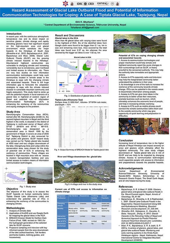 Tribhuvan University, Nepal: Using information and communication technologies to manage the risk of glacial lake flooding | This poster describes a project which focussed on the hazard of flooding from glacial lakes, using Tiptala Glacial Lake in Nepal as a case study.    The project reviewed the potential for information and communication technologies in relation to monitoring, communicating and mitigating risks.  It concluded that access to communication technologies could help promote…