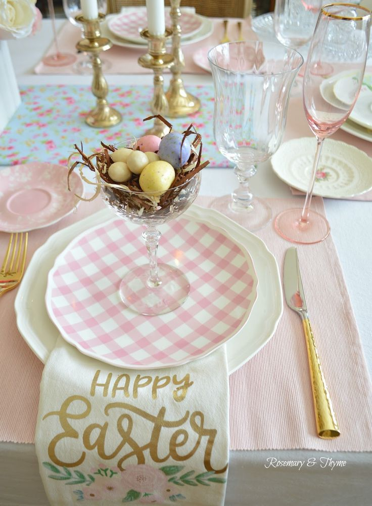 Michael's, Easter Table, Spring Table, Easter Tablescape, Spring Tablescape, Entertaining, Spring Entertaining, Easter Table Setting Easter Place Setting, Gingham plates, Pink table, Shabby chic table, Farmhouse table, Cottage style table, mesa, vintage table, dinnerware