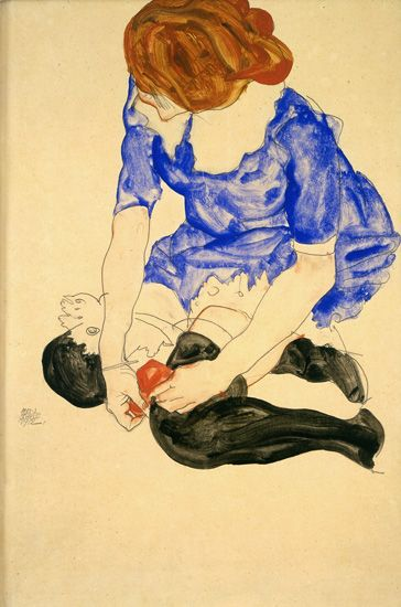 Woman in Blue Dress, Tying Her Garter, 1912