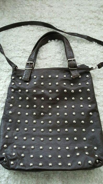Handtasche tasche braun mit Nieten shopperbag