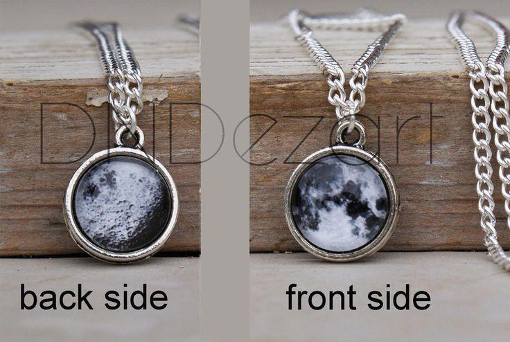 Ketten - Mond Kette, Doppel Seite Mond, Halskette, klein - ein Designerstück von dndezart bei DaWanda