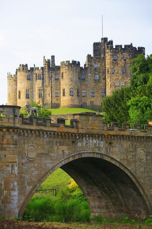 Alnwick Castle, England.  Yves de Vescy, Baron of Alnwick, erected the first parts of the castle in 1096. In 1309 it was bought from Antony Bek the Bishop of Durham by Henry de Percy, 1st Baron Percy and it has been owned by the Percy family, the Earls and later Dukes of Northumberland since then. The first Percy lord of Alnwick restored the castle and the Abbot's Tower, the Middle Gateway and the Constable's Tower survive from this period.