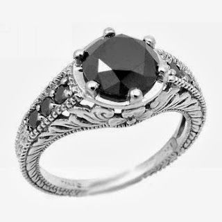Black Diamond Ring Antique Style
