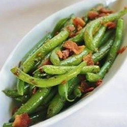 Brown sugar and bacon green beans are a sweet and savory replacement for green bean casserole on the Thanksgiving table.