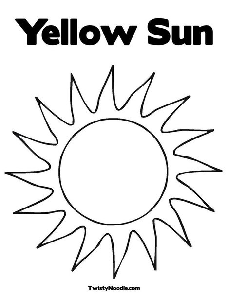 Yellow Sun Coloring Page From TwistyNoodle