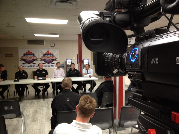on location of Allan Cup Announcement for Bentley Generals hosting the National Sr. Men's Hockey Championship in Red Deer. iMediaTV.ca working with the committee.