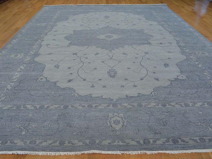 buy 10u0027 x 14u0027 overdyed silver blue serapi heriz oriental rug hand knotted rug
