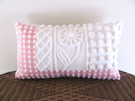 Pink pillow cover 12 X 20 MOONFLOWER white by moreChenilleChateau