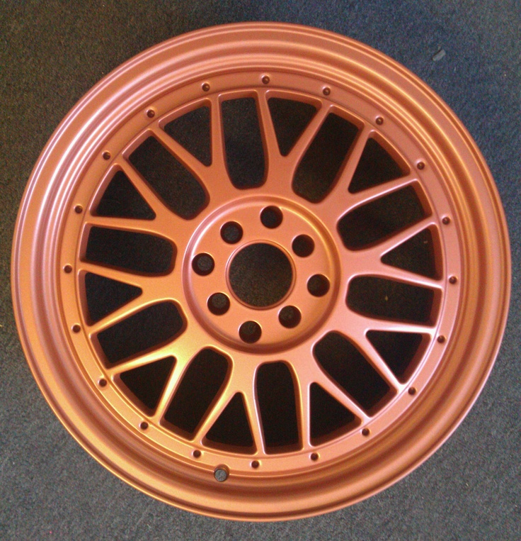 Copper Matte Powder Coated Wheel by B and B Powder Coating in Riverside, CA
