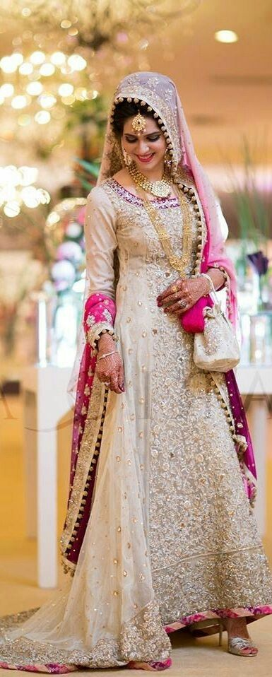 Pink and off-white asian bridal dress