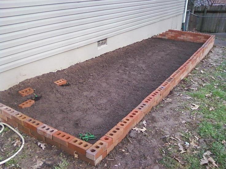 brick garden bed no mortar 2
