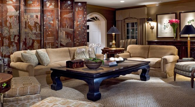 Love the asian eclectic selections for this room.  Beautiful screen and black cocktail.
