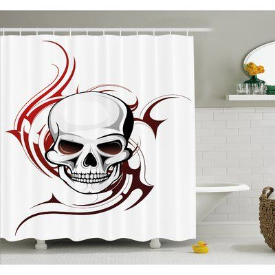 """Ambesonne Tattoo Scary Fierce and Wild Skull with Flames Tribal Artistic Tattoo Image Shower Curtain Set Size: 84"""" H x 69"""" W x 1"""" D"""