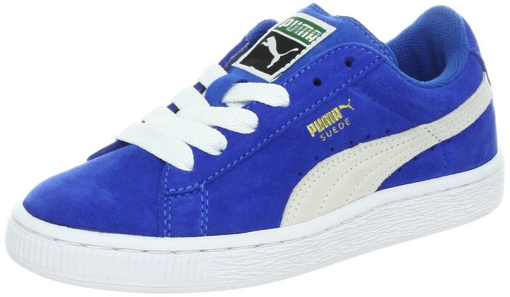 PUMA Suede Junior Sneaker (Little Kid/Big Kid) , Snorkel Blue/White, 2 M US Little Kid. Classic suede sneaker with signature Formstrip and perforated detailing at midfoot. Removable Kinder-Fit sockliner and cushioned midsole. Non-marking rubber outsole.
