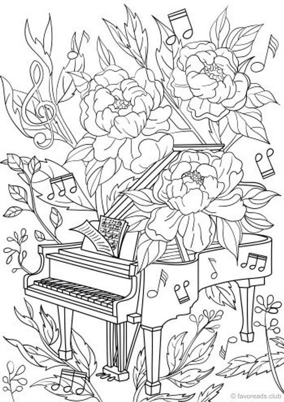 Piano Printable Adult Coloring Page From Favoreads Coloring