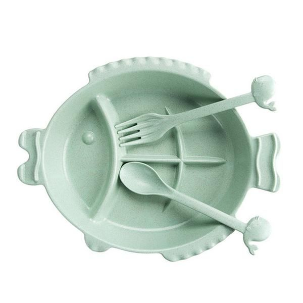 Cute Eco-Friendly Wheat Straw Cartoon Fish Dinner Set | She Needs This