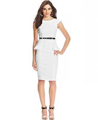XOXO Juniors Cap-Sleeve Fitted Peplum Sheath Dress