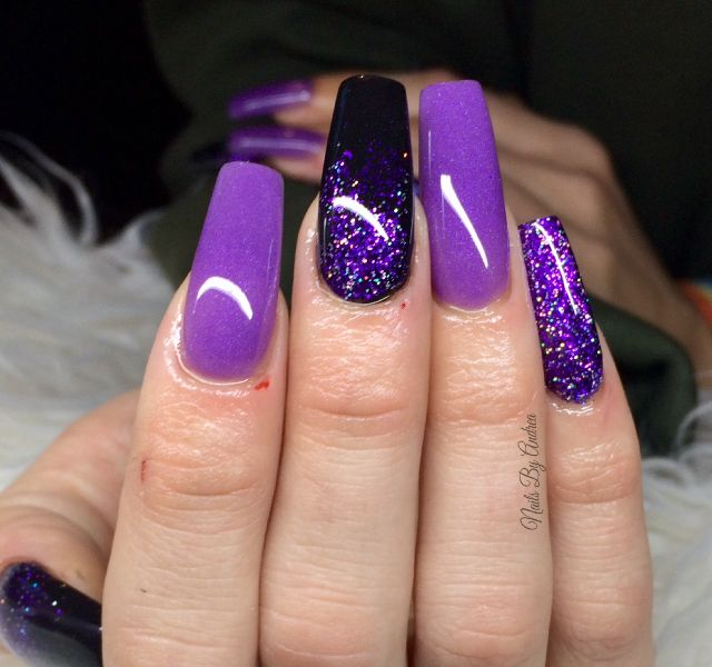 Purple And Black Acrylic Nails Acrylicnails Sculpted Glitternails Nailswag Nailstyle Purple Acrylic Nails Black And Purple Nails Purple Glitter Nails