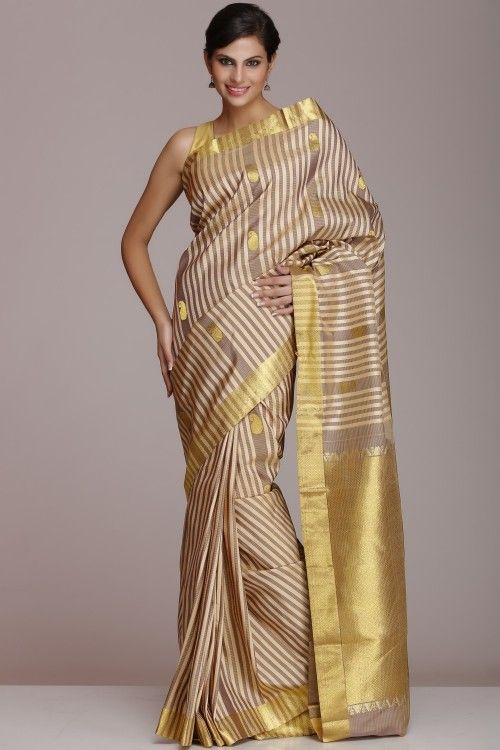Beige And Grey Striped Kanjeevaram Pure Silk Saree With Solid Self Pattern Half-Fine Gold Zari Pallu & Border